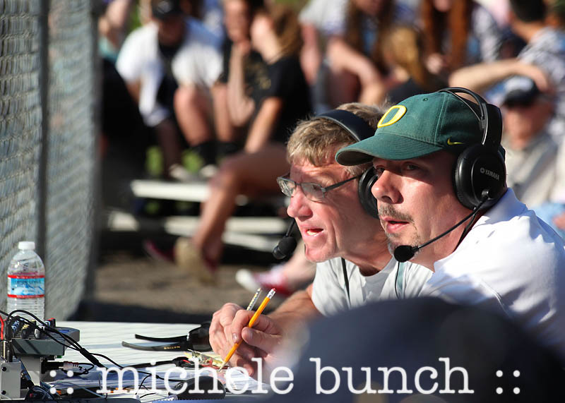 Connan Lee and Mike Jodoin call the softball play by play of Marist's quarterfinal win over Sandy (photo courtesy of Michele Bunch)